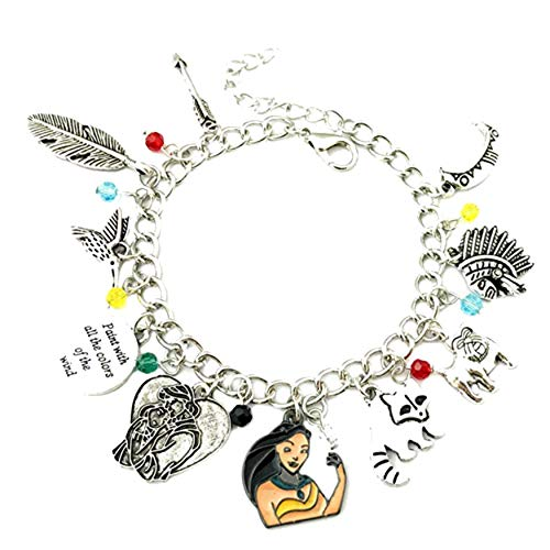Athena Brands Pocahontas Charm Bracelet Quality Cosplay Jewelry Movie Series with Gift -