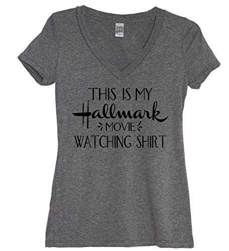 This is My Hallmark Movie Watching Shirt Women's Tri-Blend V Neck Shirt (2X) Heather Gray (Hallmark Cup)