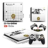 Ci-Yu-Online VINYL SKIN [PS4 Slim] JoJo's Bizarre Adventure White Light Bar Whole Body VINYL SKIN STICKER DECAL COVER for PS4 Slim Playstation 4 Slim System Console and Controllers