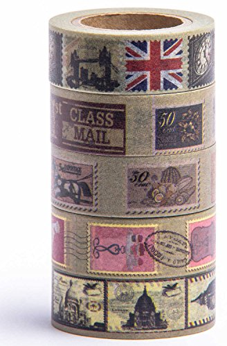 Washi Tape (Japanese Masking Tape) by MIKOKA, 0.6 Inches Wide, 32.8 Feet Long, Set of 5 - Antique Dark (Scrapbooking Lot Scrapbook Paper)