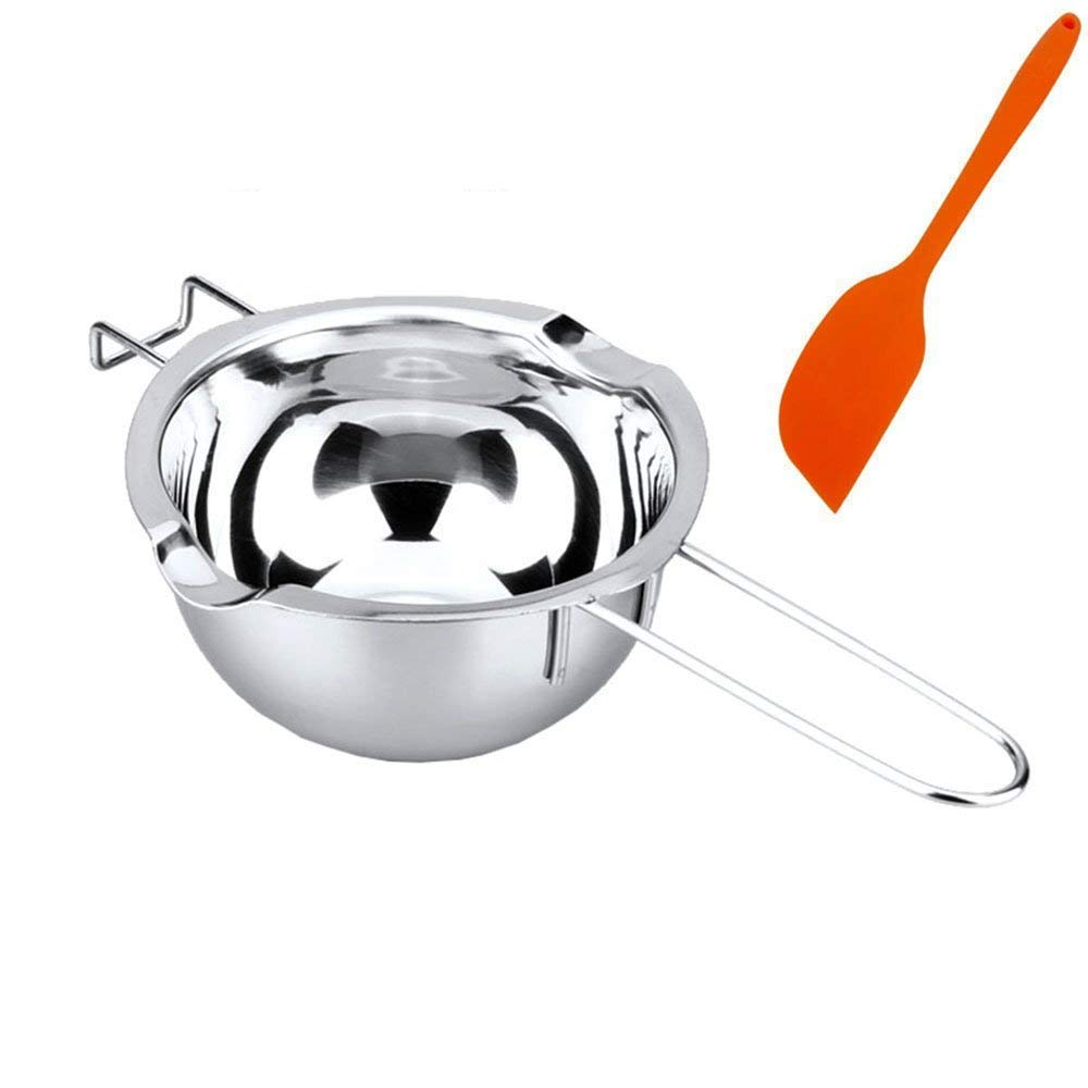 BEMINH Universal Double Boiler Baking Tool Melting Pot with Silicone Spatula, 18/8 Stainless Steel Universal Insert Pan, 2 Pour Spouts, Heat-resistant Long Handle, For Butter Chocolate Cheese Caramel