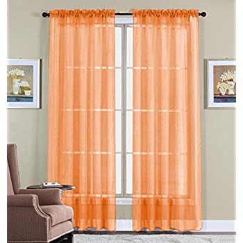 Amazon Com Orange Sheer Curtain 2 Panels Rod Pocket 57 Quot X