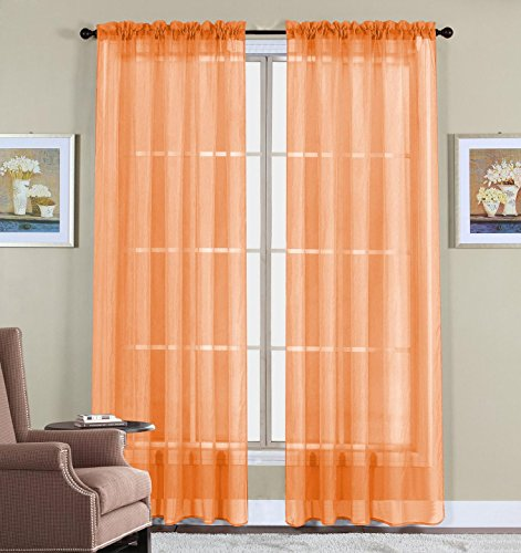Orange Sheer - WPM WORLD PRODUCTS MART Drape/Panels/Treatment Beautiful Sheer Voile Window Elegance Curtains for Bedroom & Kitchen, 57