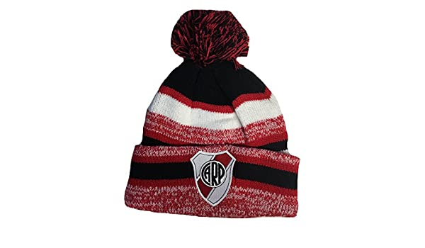 Amazon.com: Soccer River Plate Beanie Pom Pom Hat Red Black White: Clothing