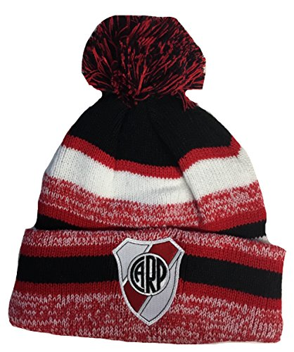 Soccer River Plate Beanie Pom Pom Hat Red Black White