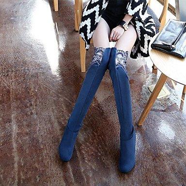 carriera moda UK7 Stivali Autunno pelle rosso US9 Mid donna scarponi blu abito Comfort per punta Scarpe EU40 Stivali Inverno Tacco Office Calf RTRY cuneo a vera tonda CN41 amp; wz01tq
