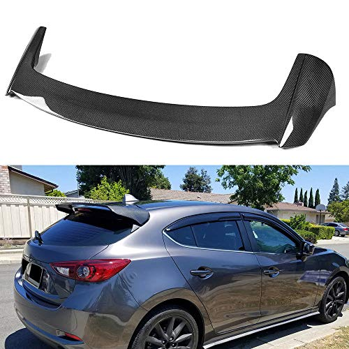 FidgetKute for Mazda 3 Axela Hatchback 14-17 Rear Roof Spoiler Boot Wing Lip Carbon Fiber
