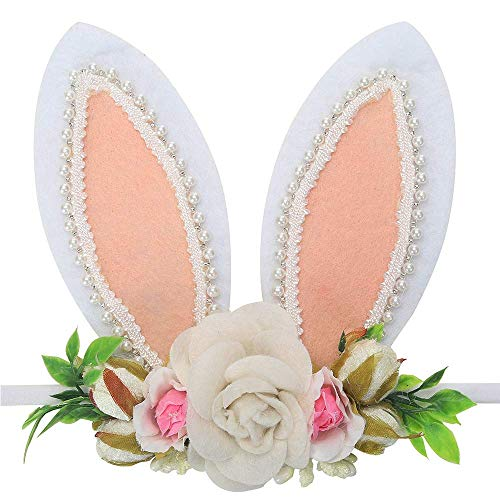 Flower Bunny Ears Headbands Baby Pearl Rabbit Hair Bows Elastic for Newborn Infant Toddler -