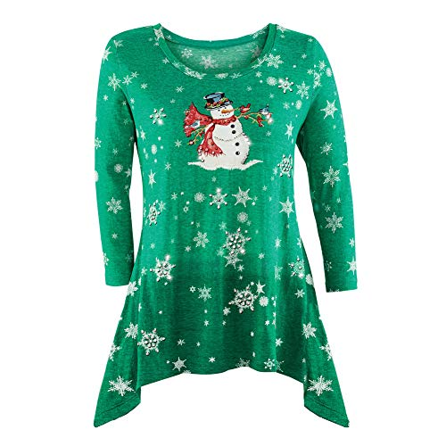 Women's Snowman Sharkbite Top in Green or Red