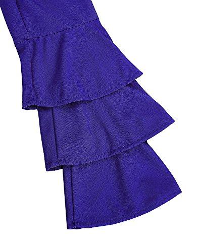StyleDome Mujer Camiseta Mangas Largas Volantes Blusa Playa Elegante Oficina Casual Azul