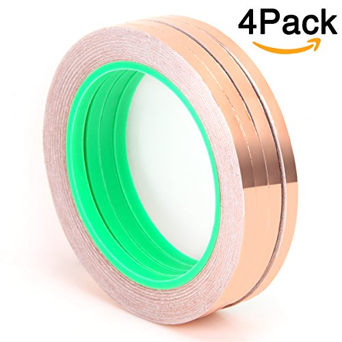4 Pack Copper Foil Tape, 66 Feet Double-Sided Copper Foil Conductive Tape for EMI Shielding, Stained Glass, Soldering,Electrical Repairs,Slug Repellent,Paper Circuits,Grounding (0.25
