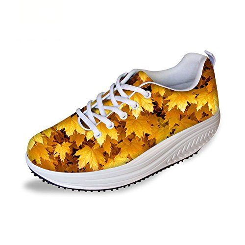Bigcardesigns Cool High Platform Womens Toning Fitness Walking Shoes Sport Sneaker Yellow Pm4ZD29