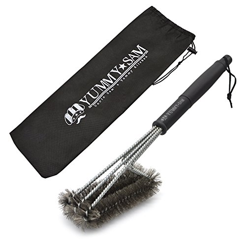 BBQ Grill Brush Outdoor Barbecue Cleaning Scraper Cleaning Tool - 18'' Heavy Duty 3 In 1 Stainless Steel Woven Wire Cleaner for Char-Broil, Weber, Porcelain, Infrared Grills (Storage Bag included)