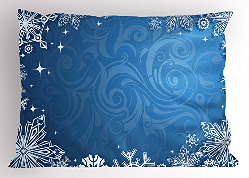 Lunarable Snowflake Pillow Sham, Christmas Season Frame with Swirled Background Abstract Symmetrical Elements, Decorative Standard Queen Size Printed Pillowcase, 30 X 20 inches, Blue White ()