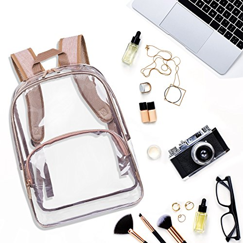 NiceEbag 6 in 1 Clear Backpack with Cosmetic Bag & Case, Clear Transparent PVC School Backpack Outdoor Bookbag Portable Travel Toiletry Bag Makeup Quart Luggage Organizer (Rose Gold) by NiceEbag (Image #5)