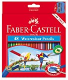 Faber Castell WaterColor Pencils with Sharpener and Brush, 48  WaterColored Pencils set