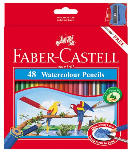 Faber Castell WaterColor Pencils with Sharpener and Brush, 48  WaterColored Pencils set by Faber-Castell