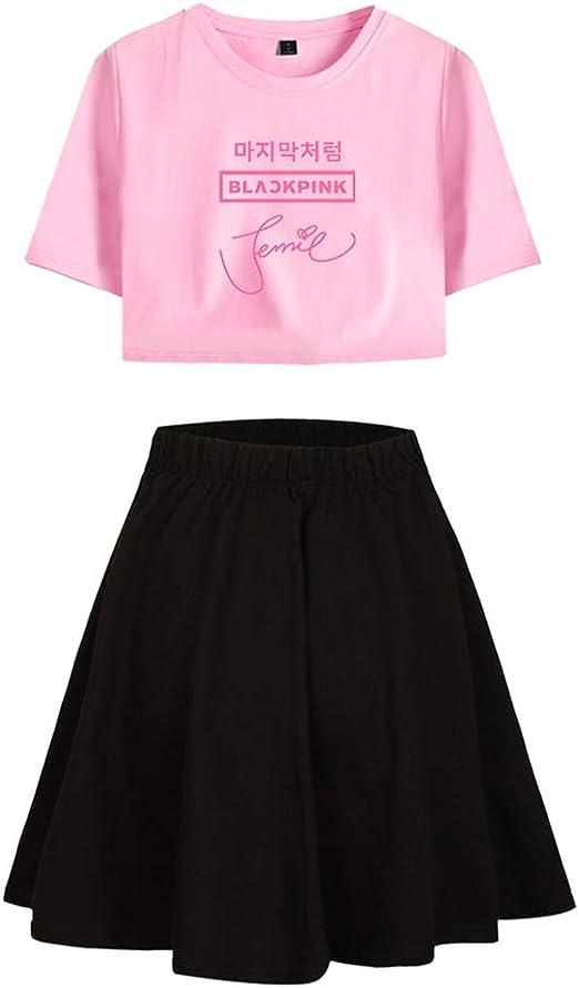 Enjoyyourlife Blackpink KPOP Ropa Camiseta Set Expuestos Falda Cortos Ombligo Traje De La Camiseta Crop Top T-Shirt: Amazon.es: Ropa y accesorios