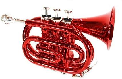 Jäger - Trompeta de bolsillo sib con estuche rígido, color rojo: Amazon.es: Instrumentos musicales