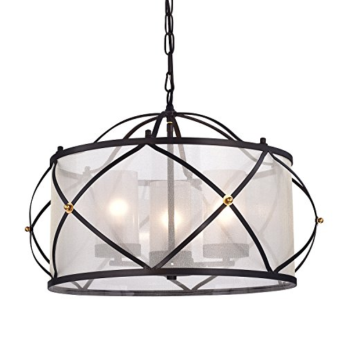 Merga 3 Light ORB Wrought Iron Drum White Shade Chandelier Ceiling Fixture (Iron Chandelier Shade)