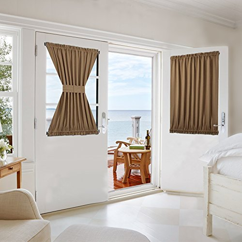 Nicetown Privacy Enhancing Blackout Patio Door Curtain Panel With Adjustable Velcro - 1 Piece W54 x L40-Inch - Cappuccino