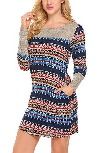 BLUETIME Women Striped Bodycon Dress Long Sleeve Pullover Knit Mini Sweater Dress (S, Navy Blue)