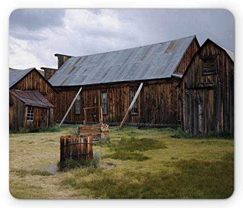 Ambesonne United States Mouse Pad, California Old Barn of A Country House American Rural View, Standard Size Rectangle Non-Slip Rubber Mousepad, Purplegrey Brown Olive (Lifestyle California Country Table)
