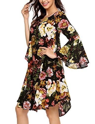 Zeagoo Women's Floral Ruffle Short Sleeve Shift Dress