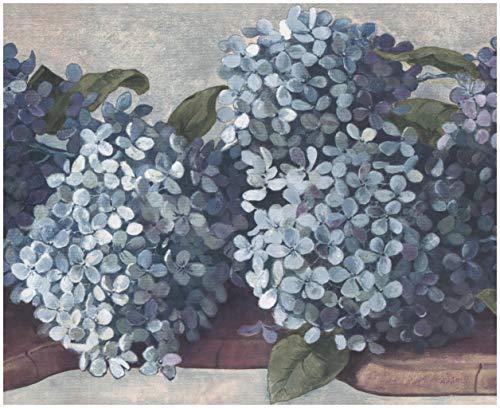 Wall Border - Teal Cerulean Blue Hydrangea Hortensia Floral Wallpaper Border Retro Design, Prepasted Roll 15 ft. x 10 in.