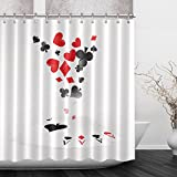 LB Poker Cards Lucky Strike Pattern Shower Curtain Set, Poker Game Casino Bathroom Decor Curtain, 70x70 Shower Window Curtain Waterproof Mold Free