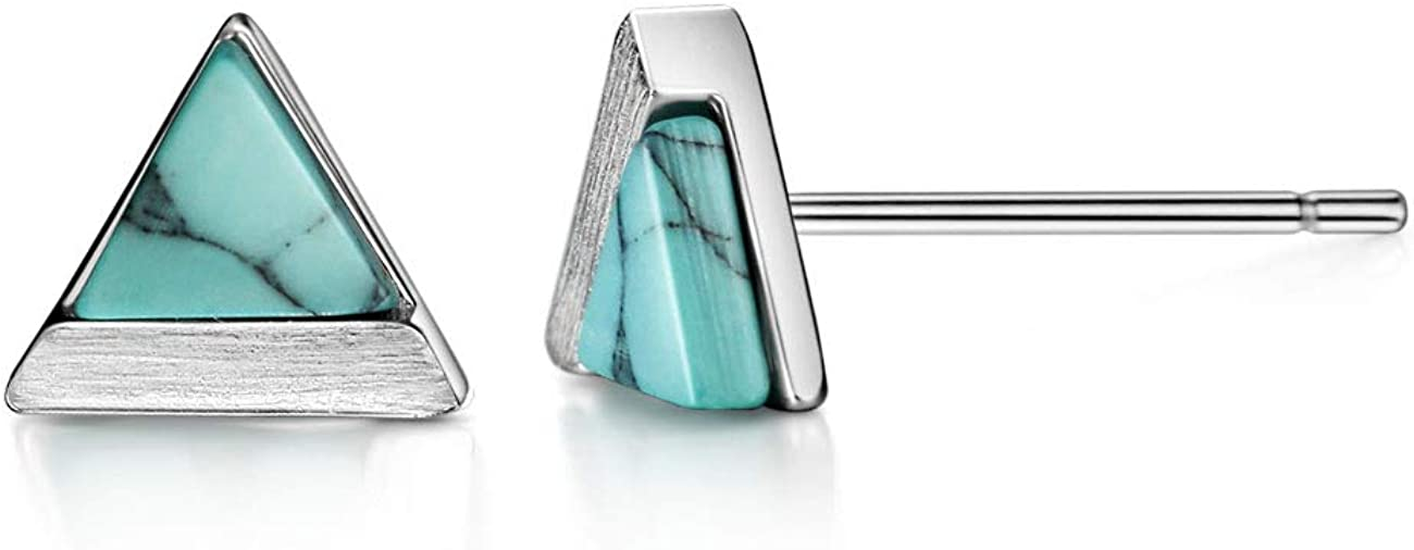 Turquoise/Howlite Stud Earrings Sterling Silver Triangle Cut Brushed Finish Fine Jewelry for Women