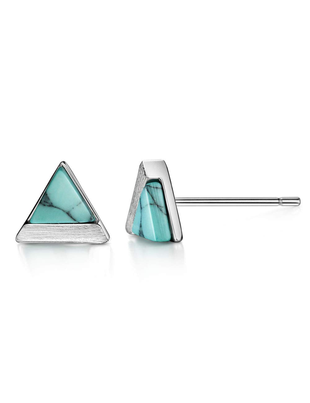 Turquoise Stud Earrings Sterling Silver Triangle Cut Brushed Finish Fine Jewelry for Women by Mints