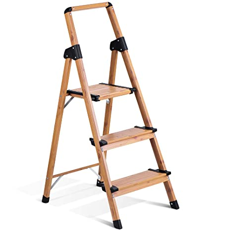 Admirable Delxo Lightweight Aluminum Woodgrain 3 Step Ladder Folding Gmtry Best Dining Table And Chair Ideas Images Gmtryco