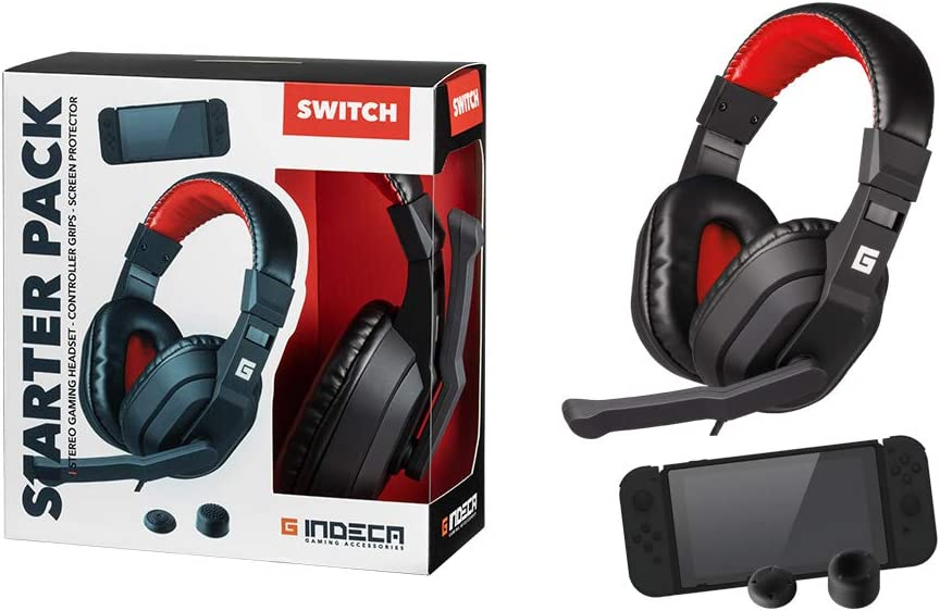 Indeca Pack Gaming Nintendo Switch: Headset + joycon Grips + Cristal | Cascos ergonómicos con Sonido estéreo y micrófono | Fundas Protectoras para Joystick | Cristal Templado Protector de Pantalla: Amazon.es: Electrónica