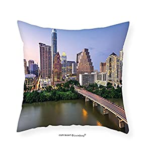 "VROSELV Custom Cotton Linen Pillowcase Modern Austin Texas American City Bridge over the Lake Skyscrapers USA Downtown Picture for Bedroom Living Room Dorm Multicolor 28""x28"""
