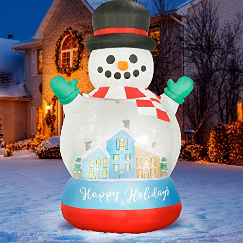 Holidayana 8 ft Inflatable Christmas Snow Globe Outdoor Decoration, Christmas Inflatables Decorations with LED Lights, Fan, and Stakes
