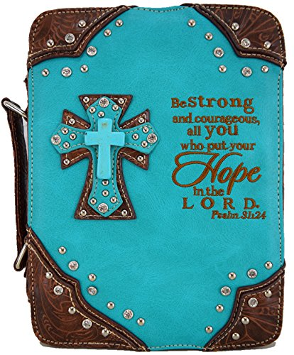 - Western Style Embroidery Psalm 34:24 Scripture Verse Bible Cover Country Books Case Cross Purse Turquoise