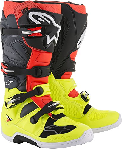 6 Off Road Mens Boots - Alpinestars Tech 7 Motocross Off-Road Motorcycle Boots, Yellow/Red/Grey, Men's Size 6