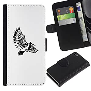 WonderWall Fondo De Pantalla Imagen Diseño Cuero Voltear Ranura Tarjeta Funda Carcasa Cover Skin Case Tapa Para Apple Iphone 4 / 4S - plumas indias paraplane pájaro blanco