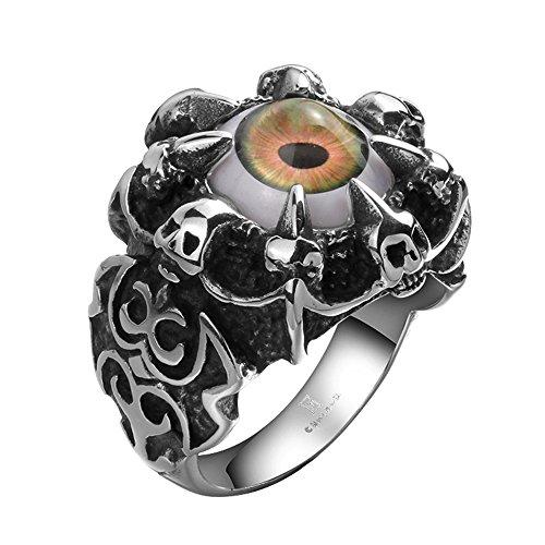 [PMTIER Men's Stainless Steel Gothic Skull Dragon Claw Evil Devil Eye Biker Ring Size 11] (Evil Eye Skull Costumes)