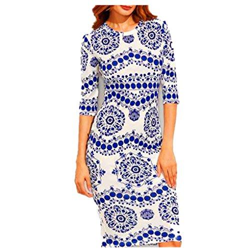 Harmily Women Porcelain Printed Pencil Long Dress Round Neck Pack hip (Neck Porcelain Long)