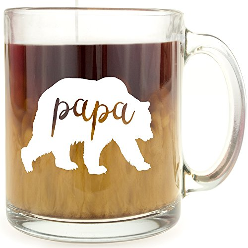 Mugs Popular Large (Papa Bear - Glass Coffee Mug - Makes a Great Gift for Dad!)