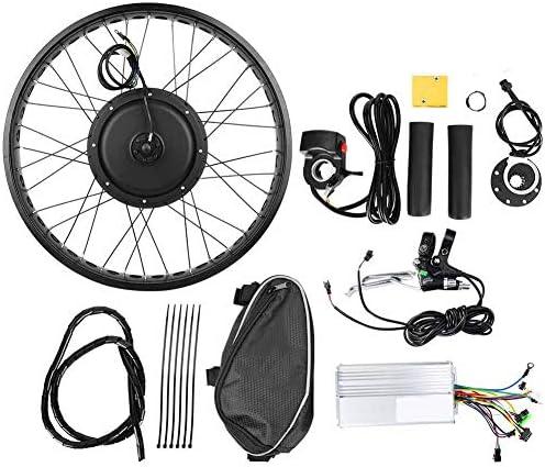 電動自転車モーター変換キット、電動自転車48V 1000W高出力モーター変換キットホイール(ブラック、26x4インチ)(フロントドライブ)