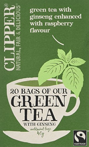 Clipper Fairtrade Green Tea with Ginseng 20 Teabags (Pack of 6, Total 120...
