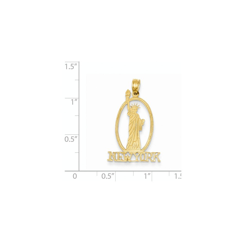 Mia Diamonds 14k Yellow Gold Cut-Out New York with statue Of Liberty Pendant 29mm x 19mm
