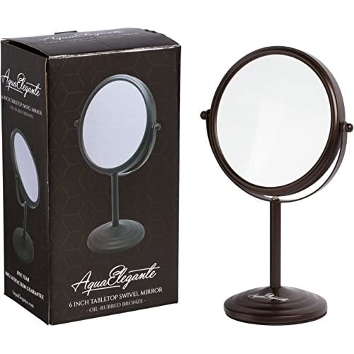50%OFF Aqua Elegante 6 Inch Tabletop Swivel Mirror - Double-Sided 7x/1x Magnification - Oil-Rubbed Bronze