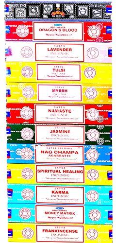 (Nag Champa Satya Assorted Top Selling Series 12 Scents (Set 1))