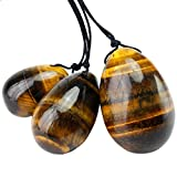mookaitedecor Tiger's Eye Yoni Eggs Set of 3, Predrilled with Unwaxed String, Massage Stones for Women to Strengthen Pelvic Floor Muscles with Velvet Pouch