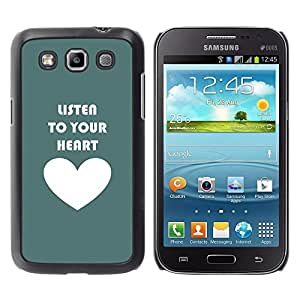 FECELL CITY // Duro Aluminio Pegatina PC Caso decorativo Funda Carcasa de Protección para Samsung Galaxy Win I8550 I8552 Grand Quattro // Quote Love Motivational Teal White