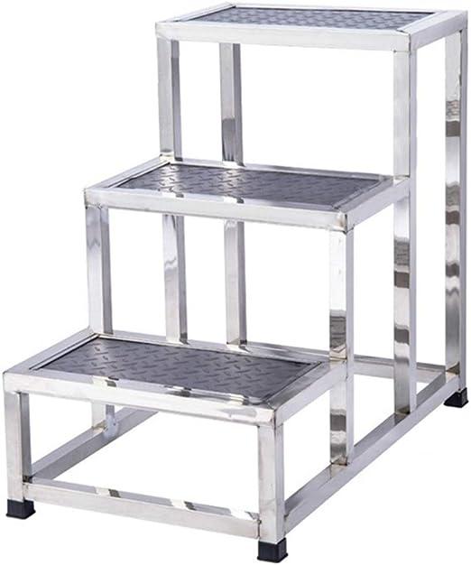 HYDT Escaleras de Mano Taburete de Acero Inoxidable for Adultos Mayores, Escalera Antideslizante de Pedales Anchos for Hotel/Laboratorio, 3 escalones, 47 × 69 × 67,5 cm, soporta hasta 110 kg: Amazon.es: Hogar